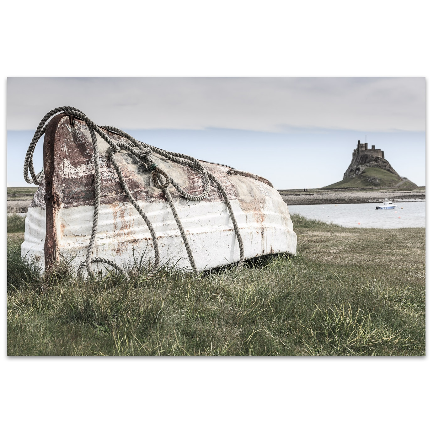 Boat on Holy Island in Northumberland England